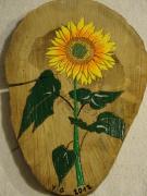 bois marqueterie fruits tournesol fleur jaune : TOURNESOL