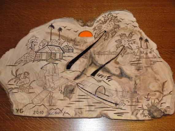 BOIS, MARQUETERIE vietnam gravure pyrogravure Paysages  - PAGODE ( VIETNAM )