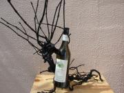 bois marqueterie : PORTE BOUTEILLE ( cep de vigne peint)