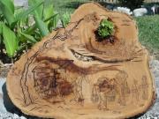 bois marqueterie paysages vietnam gravure pyrogravure : SUR LA ROUTE DU MARCHE(VIETNAM)