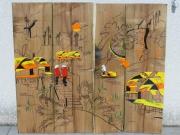 bois marqueterie paysages vietnam gravure pyro orangejaune : PAYSAGE DU VIETNAM