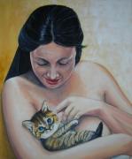 tableau personnages chaton femme brassens chanson : Brave Margot