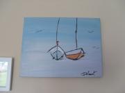 tableau marine mer bateau bleu zen : duo
