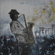 tableau personnages musicien saxophone bleu moderne : Un soir de Jazz