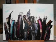 tableau paysages monument tour noir abstrait : péripéties