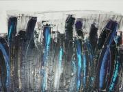tableau abstrait ville urbain city bleu : Ville d'incertitude