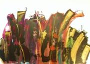 tableau abstrait abstrait multicolore monument contemporain : mascarade