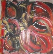 tableau abstrait rouge noir dore paillettes : Mouvement