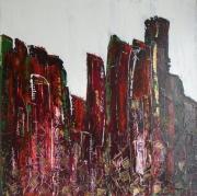 tableau abstrait gratteciel urbain vert contemporain : Avenue turbulante