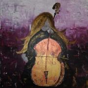 tableau personnages violoncelle violet instrument musique : Musicalement