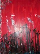 tableau villes ville building architecture rouge : buildings noirs dans la ville rouge cerise