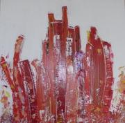 tableau abstrait ville urbain orange pop : festif