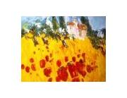 tableau paysages provence couleurs huiles couteau : paysage de provence