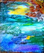 tableau abstrait abstrait paysage : LE CHAMP DU MONDE