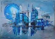 tableau architecture blue moon urban abstrait bleu : Blue moon