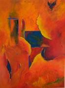 tableau abstrait rouge jaune bleu noir : printemps