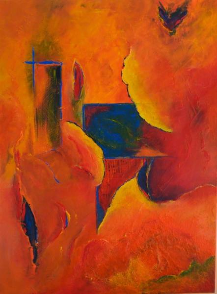 TABLEAU PEINTURE rouge jaune bleu noir Abstrait Acrylique  - printemps