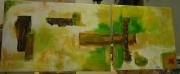 tableau abstrait jaune ambiance nature moderne : dyptique jaune et vert