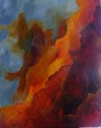 tableau abstrait orange noir gris blanc : terre de feu