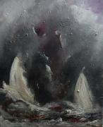 tableau marine blanc mer bateau noir : li triangle des Bermudes