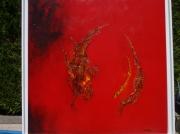 tableau abstrait sculpte decor tableau rouge : abstrait 67