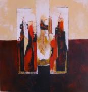 tableau abstrait noir moderne beige orange : abstrait N° 7