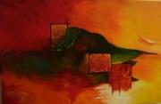 tableau abstrait moderne jaune orange vert : abstrait 4 saison