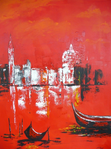 TABLEAU PEINTURE bateau mer ville venise Villes Acrylique  - Venise