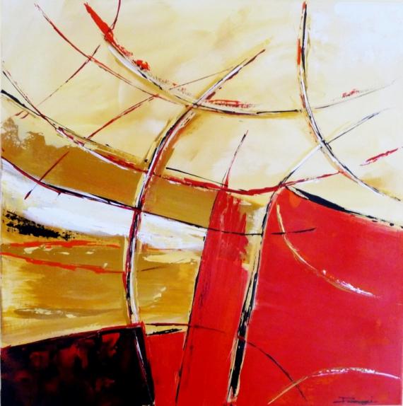 TABLEAU PEINTURE beige noir rouge moderne Acrylique  - Serenité