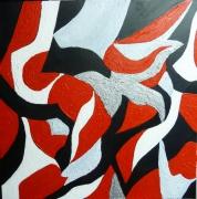 tableau abstrait blanc noir gris moderne : ENVOL