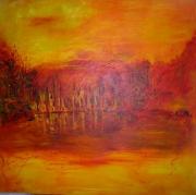 tableau abstrait rouge moderne tableau peinture : nature