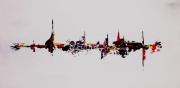 tableau abstrait rouge noir jaune moderne : mirage