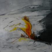 tableau abstrait blanc moderne orange jaune : ABSTRAIT N 16