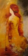 tableau personnages jaune brun moderne beige : rêve