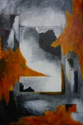 tableau abstrait moderne noir rouge blanc : sans titre N°5