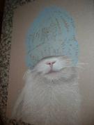 dessin animaux chat portrait humour : chat au bonnet bleu VENDU