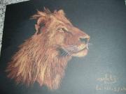 dessin animaux lion felin soleil serenite : force tranquille VENDU