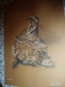 dessin animaux chat chapeau sorcier : merlin VENDU