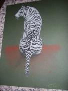 dessin animaux tigre felin pose : tigre blanc OEUVRE VENDUE