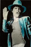 "tableau personnages mick jagger bleu rolling stones chanteur : SATISFACTION  "" MICK JAGGER """