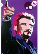 """tableau personnages rock star concert musique chanteur : JOHNNY HALLYDAY  """" MA GUEULE  """""""