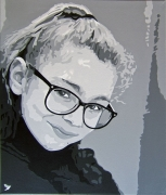 tableau jeune fille pop art peinture noir et blanc : PORTRAIT