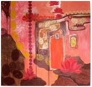 tableau fleurs peinture ,a huile abstrait : leurs de lotus