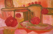 tableau abstrait peinture diptique tres beau : fleur lotus