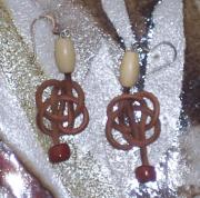 bijoux autres celtique noeud cuir : boucles d'oreilles