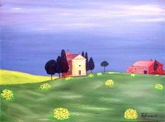 TABLEAU PEINTURE paysage Italie Paysages Peinture a l'huile  - Italie