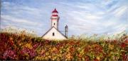 tableau paysages phare fleurs paysage : Phare aux fleurs
