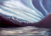 tableau aurore boreale paysage : Aurore boréale
