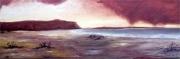 tableau paysages plage normandie couche orageux marine : Couché orageux