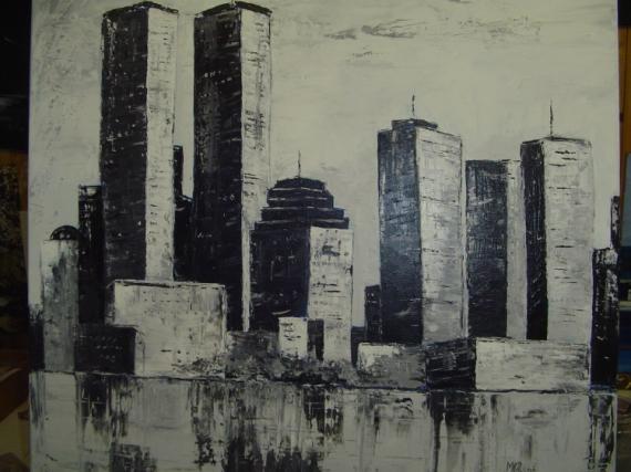 TABLEAU PEINTURE new york amerique les deux tours Paysages Acrylique  - les deux tours